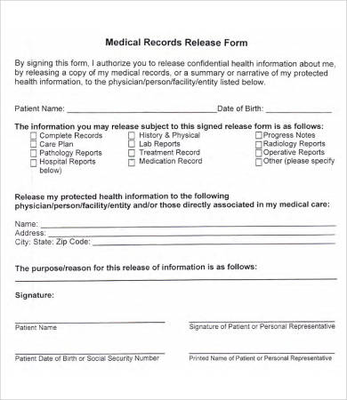 medical record release form template medical records release form