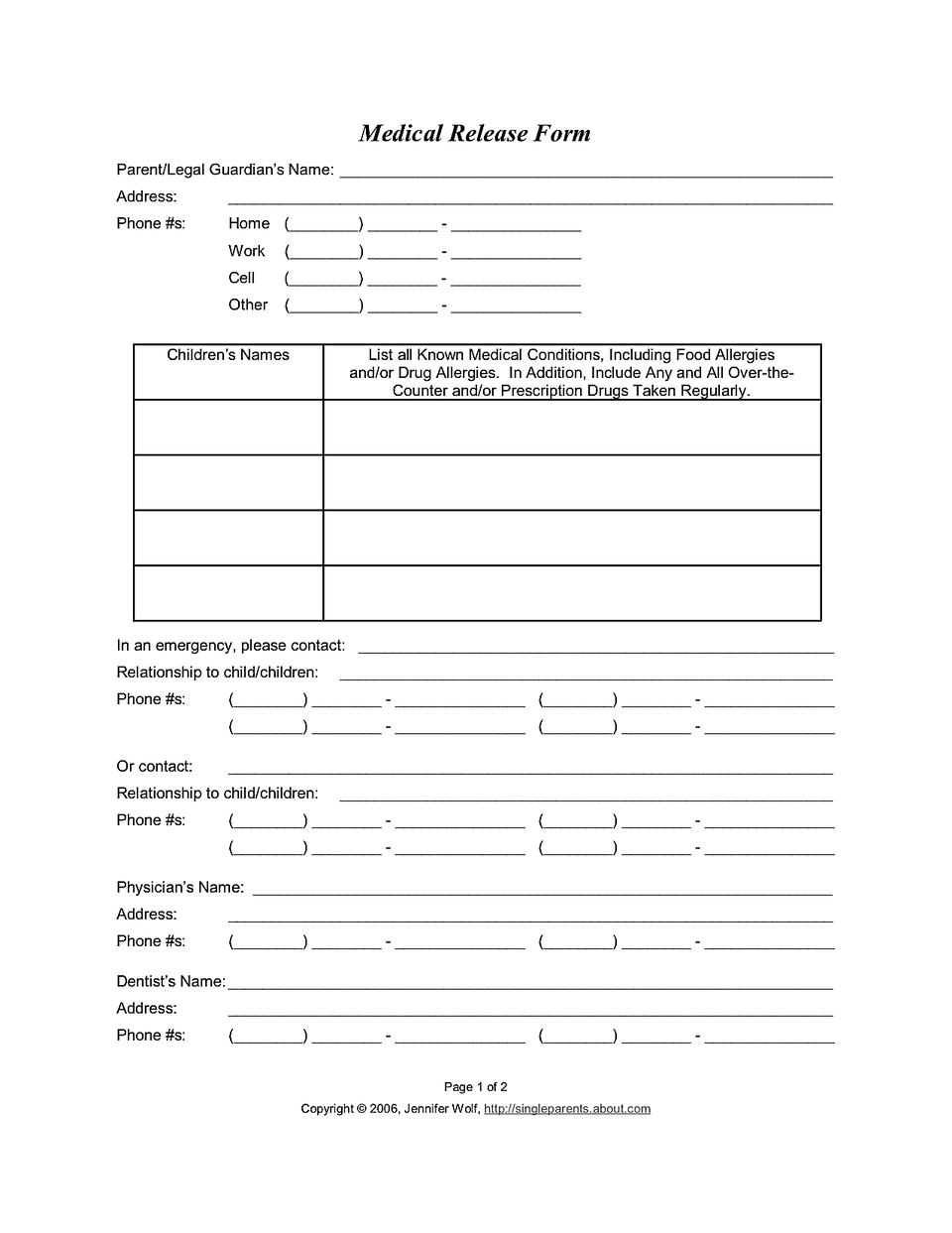 Medical Release Form | bravebtr