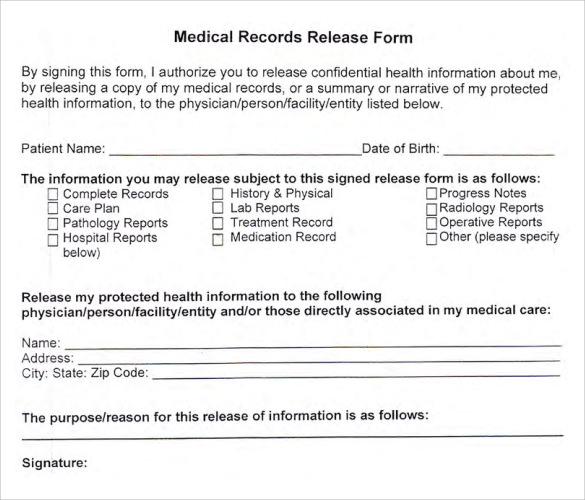 patient release form template medical records release forms free