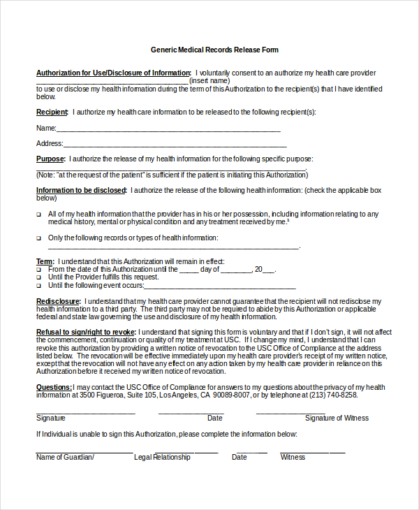 medical release form template Dean.routechoice.co