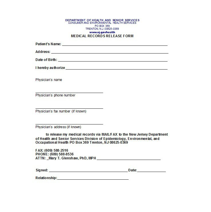 information release form template 30 medical release form