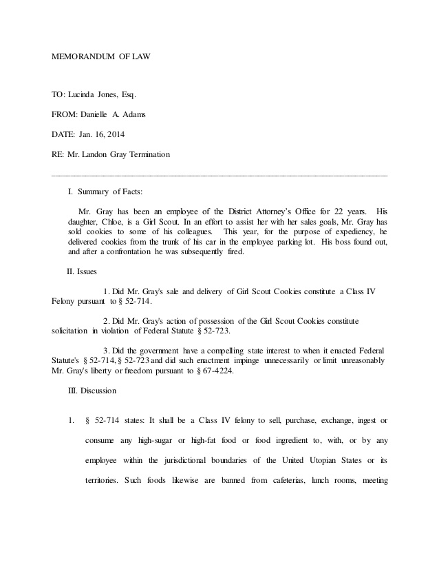 MEMO OF LAW EXAMPLE