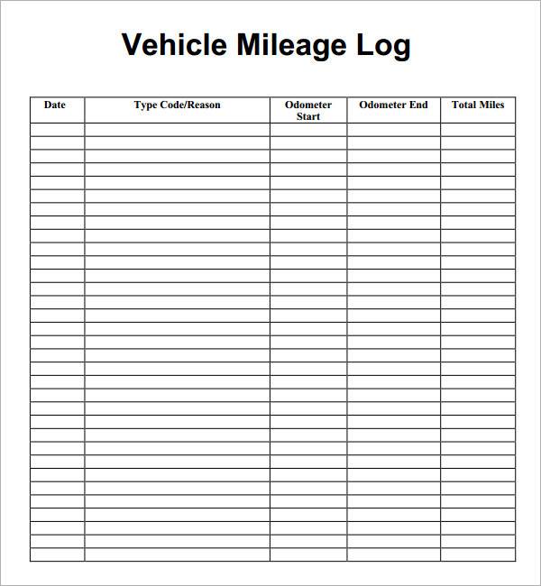 Free Printable Mileage Logs