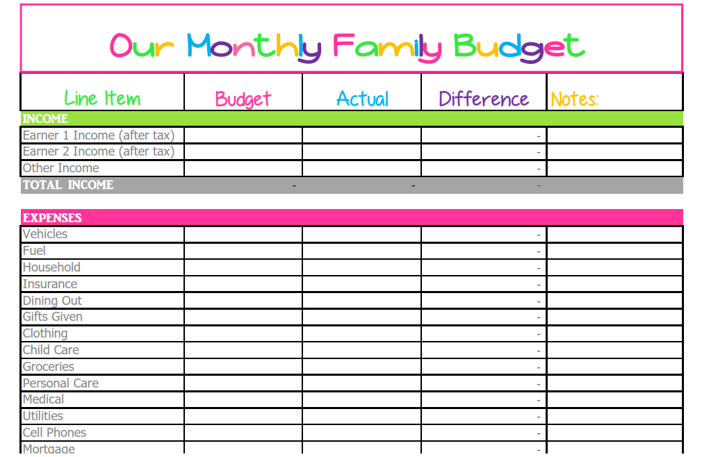 monthly bills budget worksheet Yeni.mescale.co