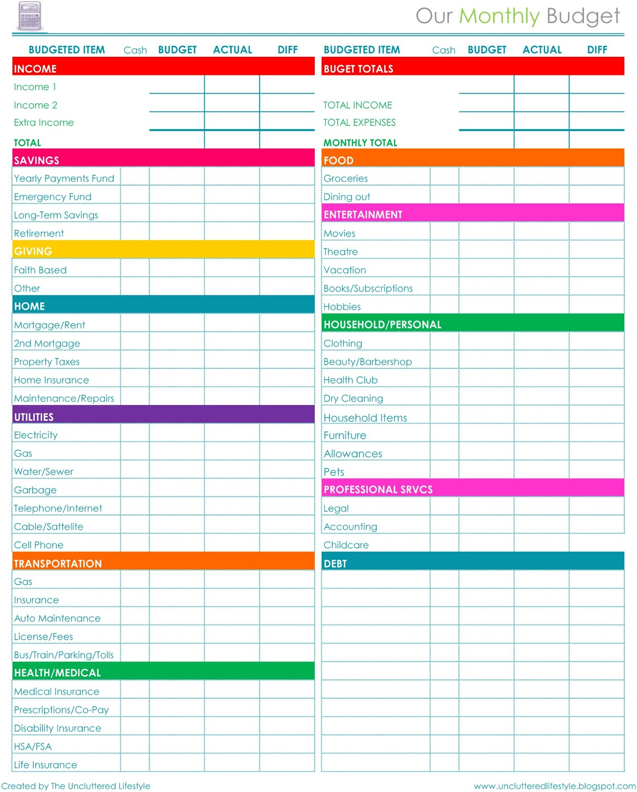 monthly budget forms printable Yeni.mescale.co