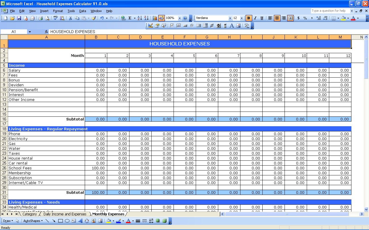 excel templates expenses Roho.4senses.co
