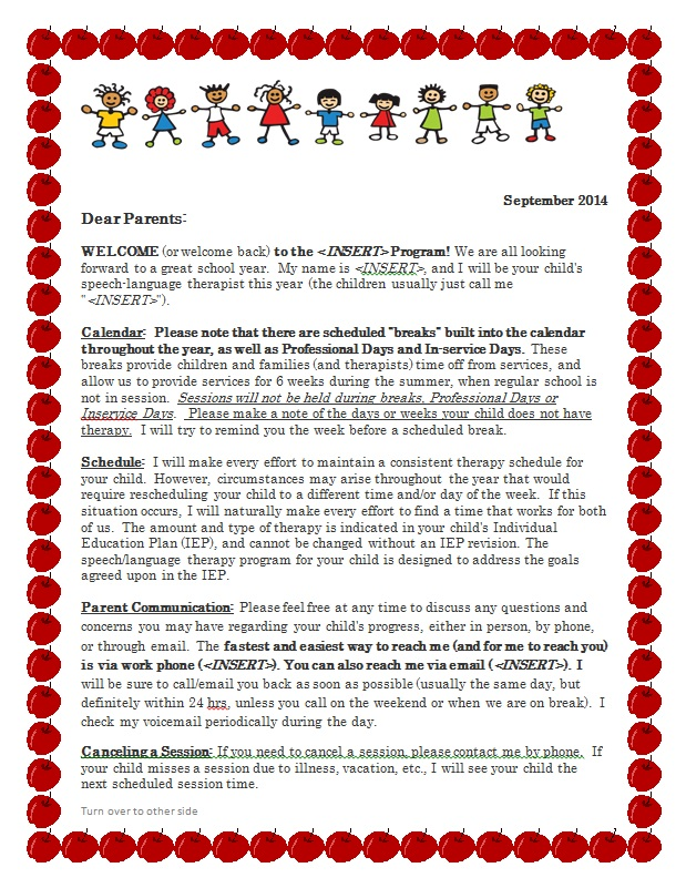 Let's Talk Speech and Language: Freebie Parent Welcome Letter