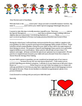 Parent Welcome Letter by Speech Superstore | Teachers Pay Teachers