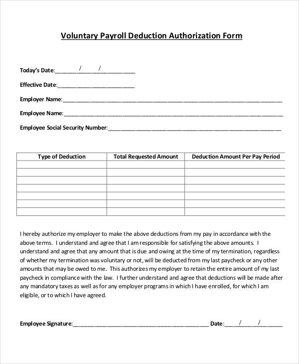 employee deduction form template payroll deduction form template