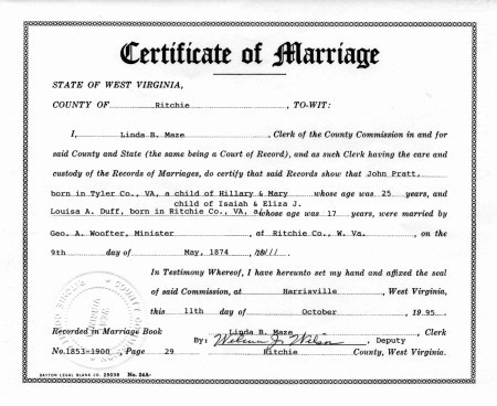 west virginia marriage license files