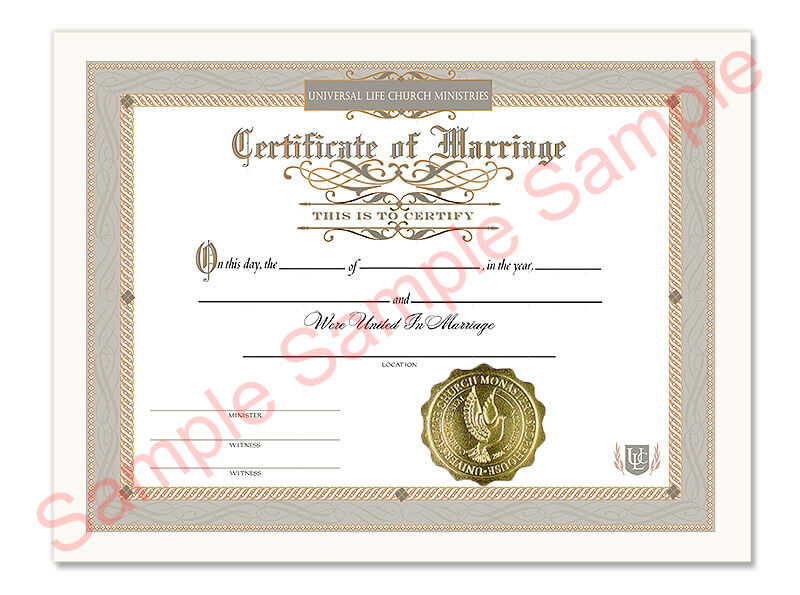 Certificate of Marriage | Universal Life Church
