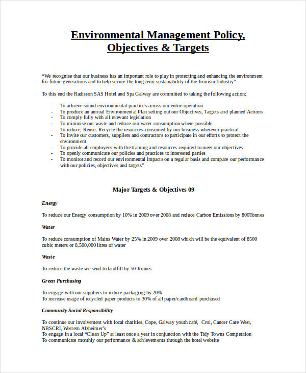 energy policy template 7 environmental policy templates free