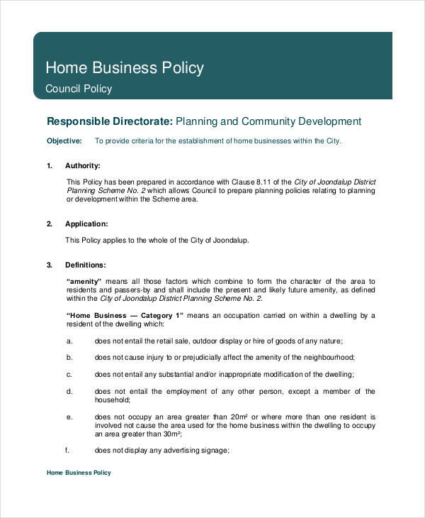 Business Policy Template 9+ Free PDF Documents Download | Free