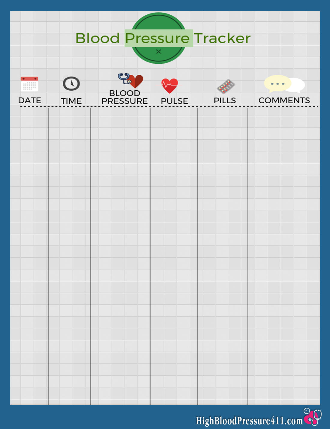 Blood Pressure Tracker Printable