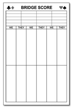 bridge score sheets printable | You get two score pads on each