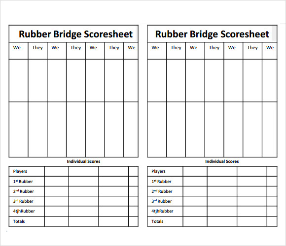 Bridge Score Cards – Davies Barnard