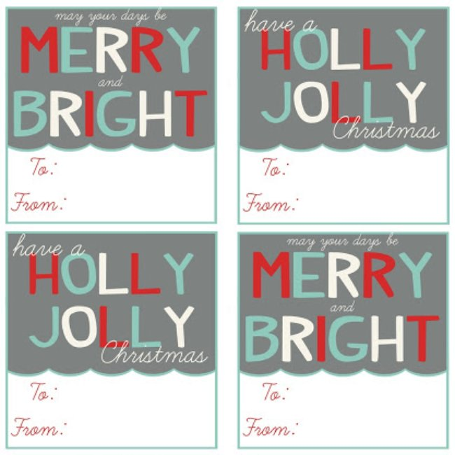 Printable Christmas Gift Tags Digital PDF File Instant