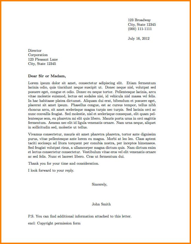 Professional letter format cover examples sample example business