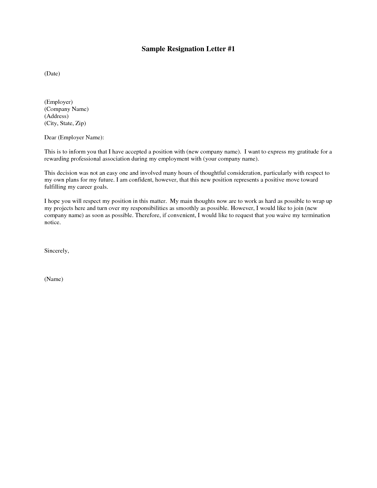 Professional Resignation Letter Sample | mobile discoveries
