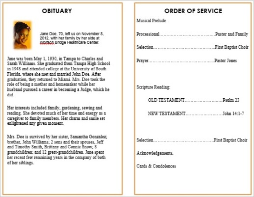 50+ best Printable Funeral Program Templates images by Funeral