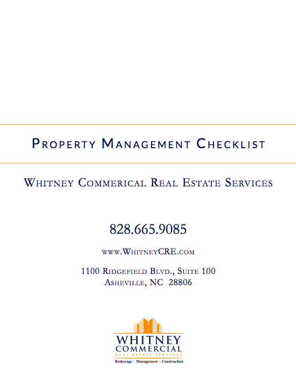 Commercial Property Management Checklist Whitney Commercial Real