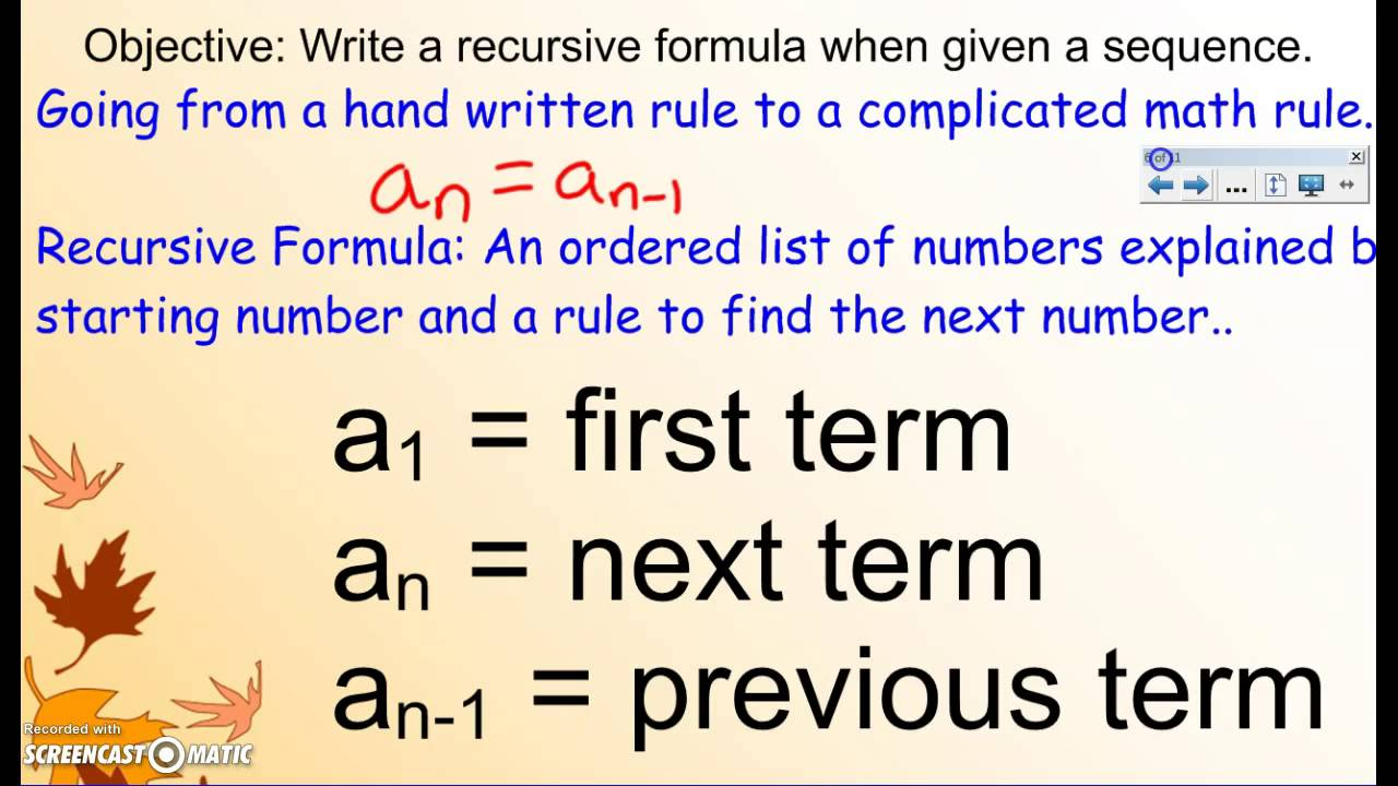 Recursive Formula Lesson 1 Arithmetic Sequences YouTube