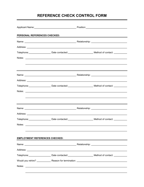 Personal Reference Form Fill Online, Printable, Fillable, Blank