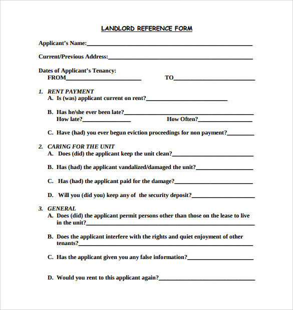 reference form template sample rental reference form 8 download