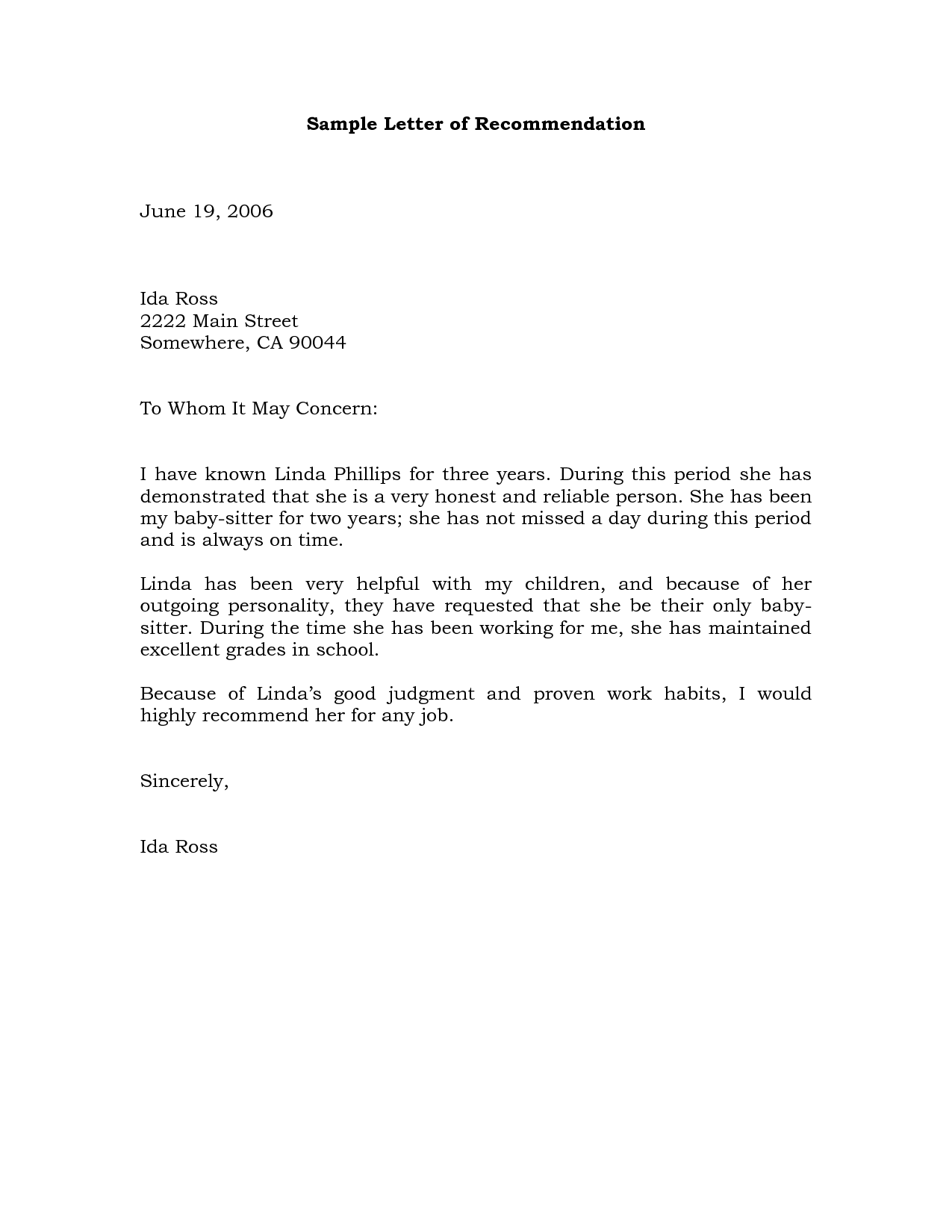 Sample Recommendation Letter Example | Projects to Try | Pinterest