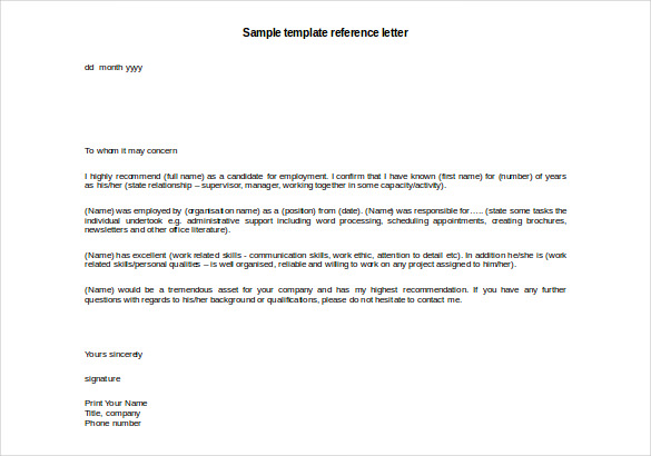 Image Result For Template Reference Letter For Employee With