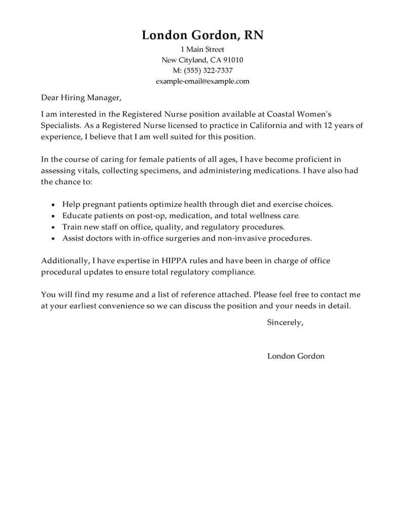 Best Registered Nurse Cover Letter Examples | LiveCareer