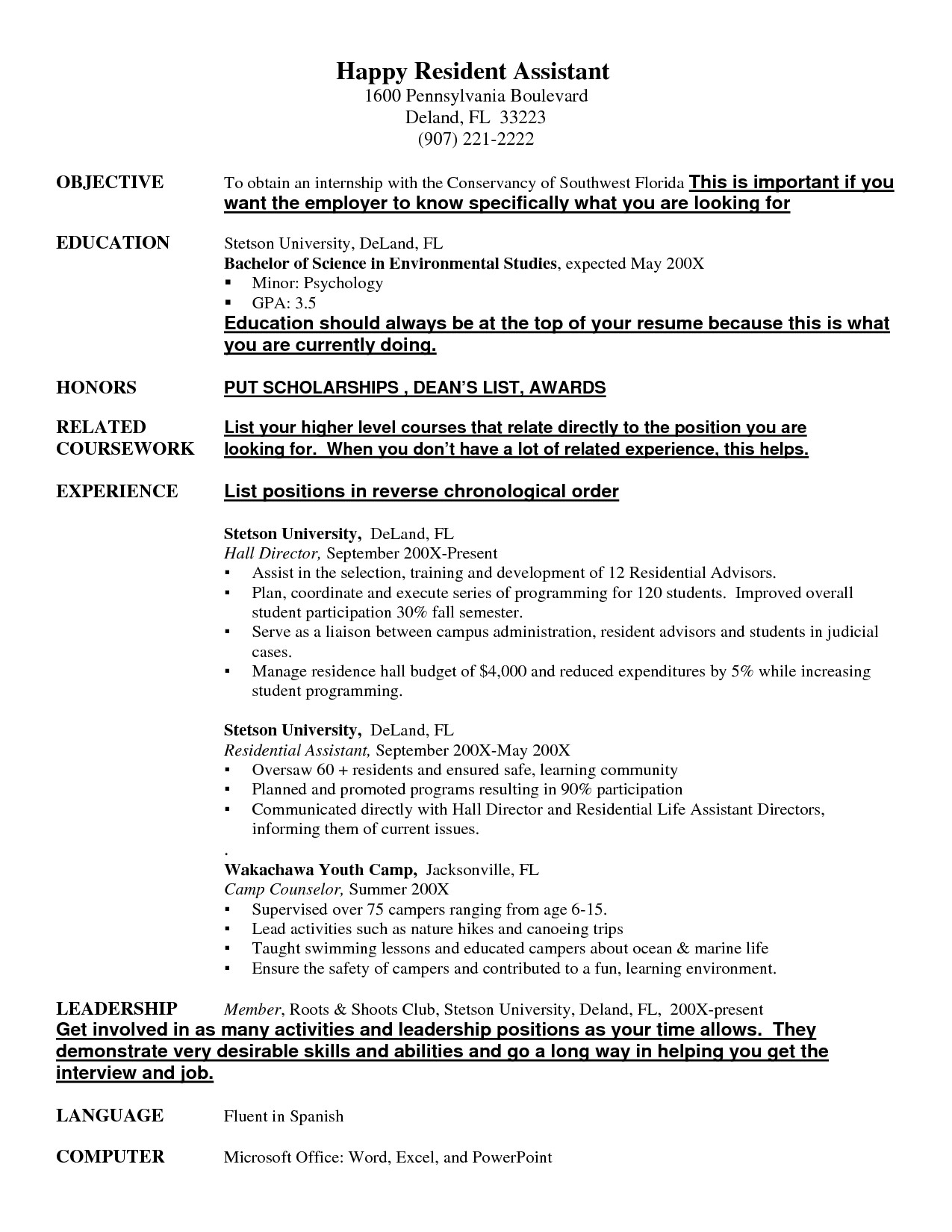 Resident Assistant Resume Example Examples of Resumes | resident
