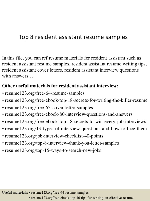 top 8 resident assistant