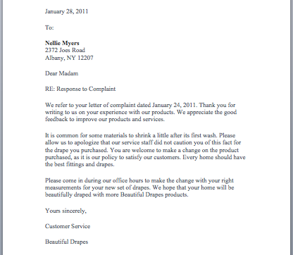 Complaint Letter Response Example Accepting | Just Letter Templates