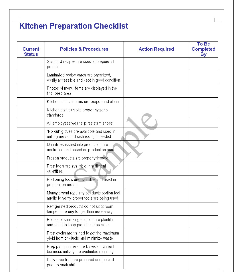 Industrial Kitchen Cleaning Checklist Fresh On Kitchen Inside
