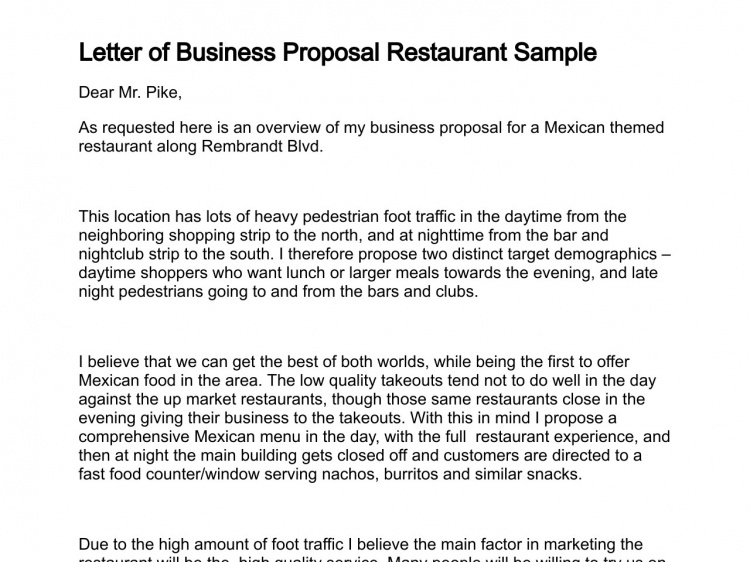 business proposal sample restaurant Yeni.mescale.co