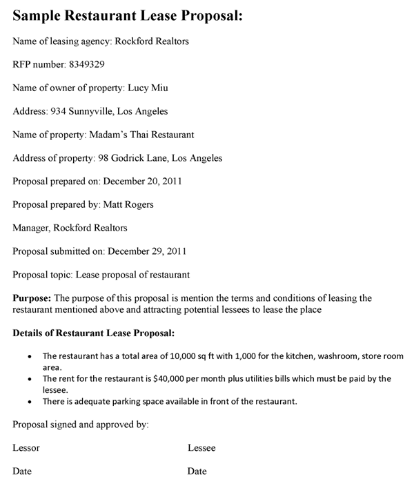 restaurant proposal template restaurant lease proposal template