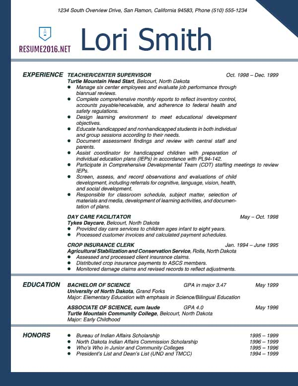 Teacher Resume Examples 2016 | Resume Samples