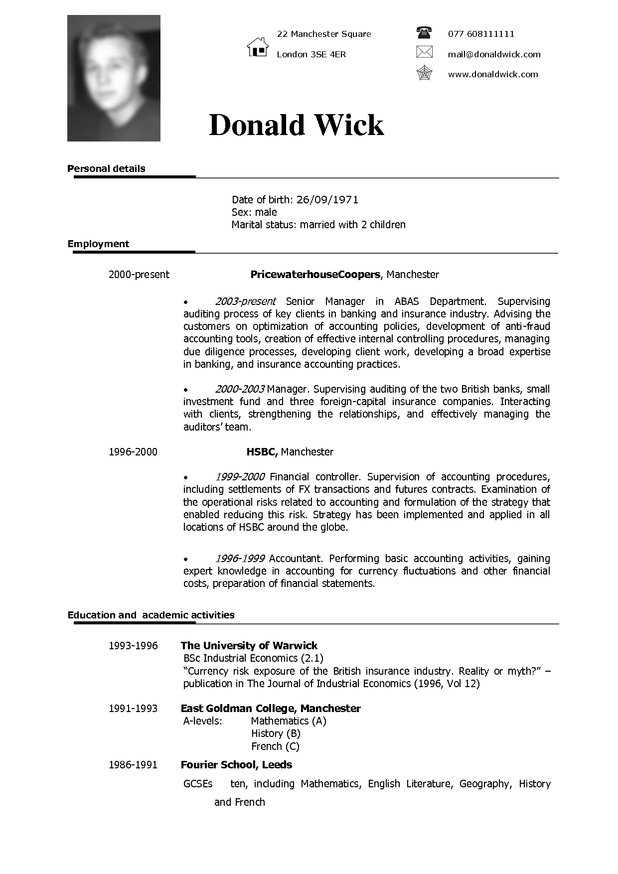 Resume Examples In English Mobile Discoveries