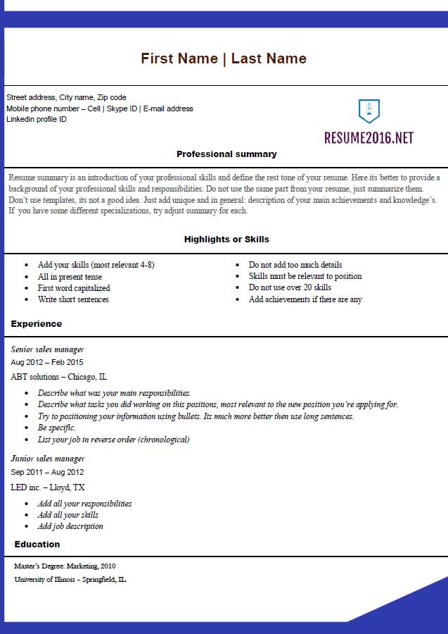 Free Resume Templates 2016 Microsoft Office Blue Template Online