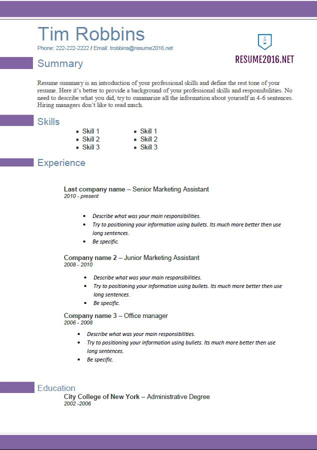 Resume Template 2016 Mobile Discoveries
