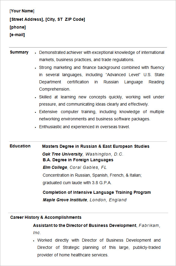 College Student Resume Example College Graduate Resume Template On