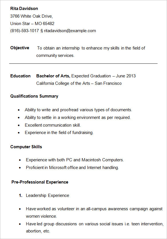 College Resume Format For High School Students Free Templates with