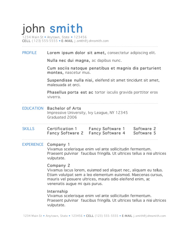Stylish Resume Template For Word Gallery For Photographers Free