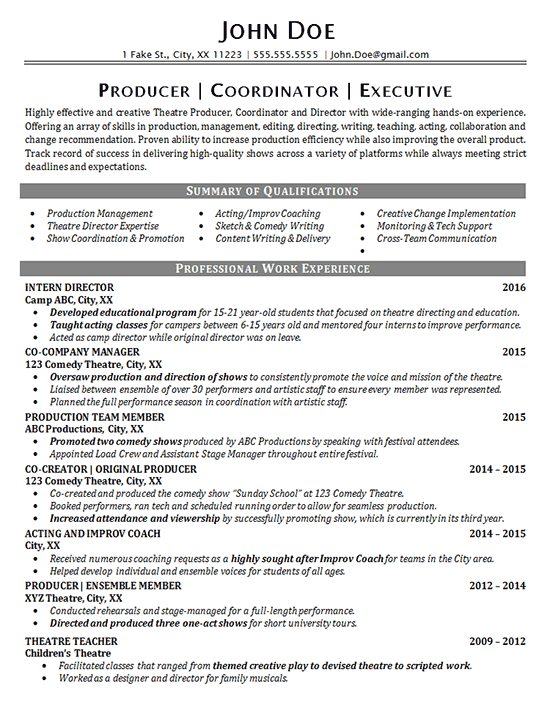 Theater Resume Example Entertainment Production Fine Arts
