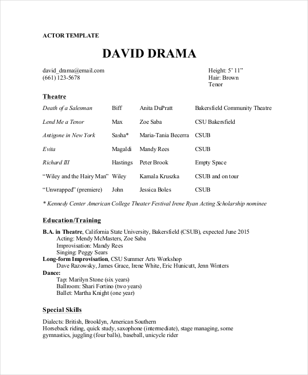 Theater Resume Template 6+ Free Word, PDF Documents Download