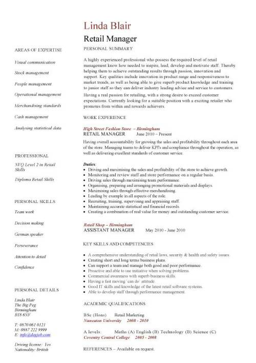 resume examples for retail management Yeni.mescale.co
