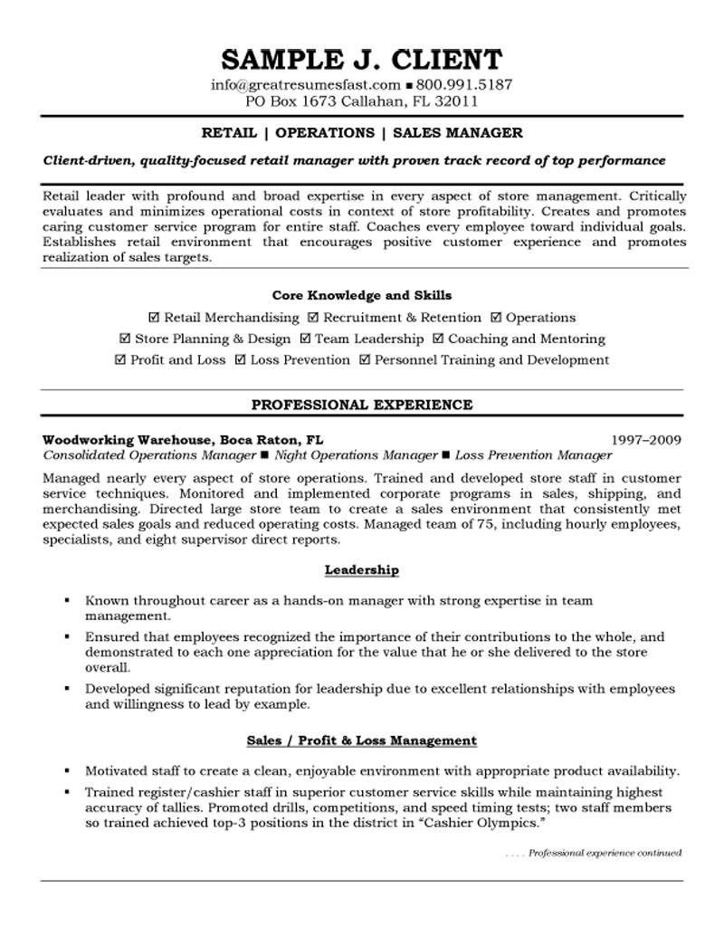 Retail Management Resume Examples And Samples | Free Resume Templates