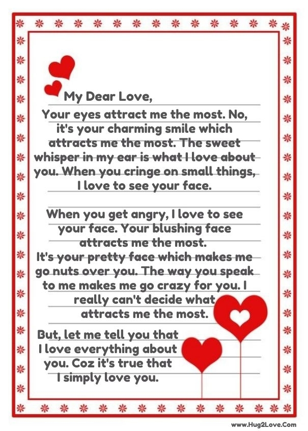 Sample romantic love letter 3+ documents in word.