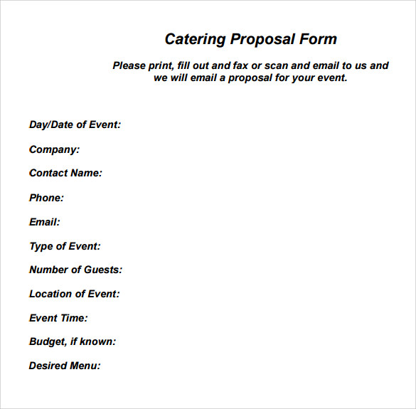 free catering proposal template catering proposal template free
